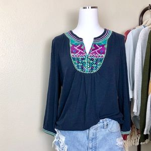 Lucky Brand Embroidered Navy Knit Top